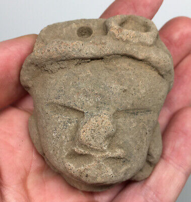 Pre-Columbian Head Pendant Terracotta Pottery Ancient Face Artifact Royal Shaman