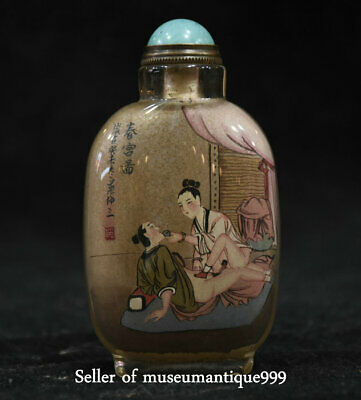 9CM Old Chinese person Make Love Word Inside Hand Painted Glass Snuff Bottle