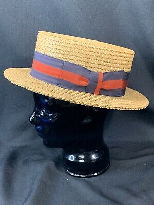 Vintage Brooks Brothers Boater Skimmer Gatsby Straw Hat with Red & Blue Ribbon