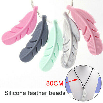 BPA Free Feather Shape Silicone Teething Necklace Baby Autism Sensory Chew
