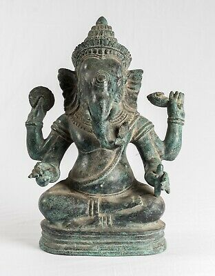 Antique Khmer Style Southeast Asia Bronze Seated Ganesha Statue - 35cm/14""