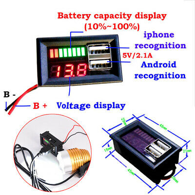 12V Lead Acid Battery Capacity Indicator Voltage Meter Dual USB Charger