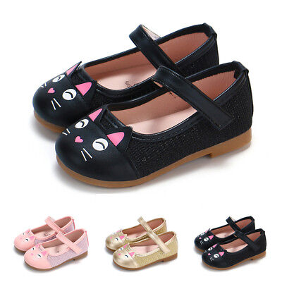 Toddler Baby Girls Child Kids Cartoon Cat Leather Single Shoes Princess Shoes