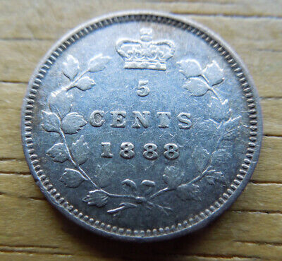 Canada 1888 Five 5 Cents Queen Victoria Silver Coin
