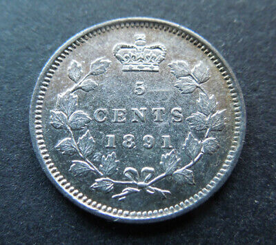 Canada 1891 Five 5 Cents Queen Victoria Silver Coin