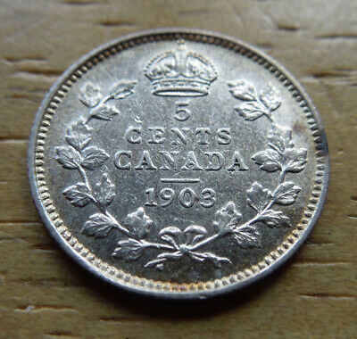 Canada 1903 Five 5 Cents King Edward VII Silver Coin