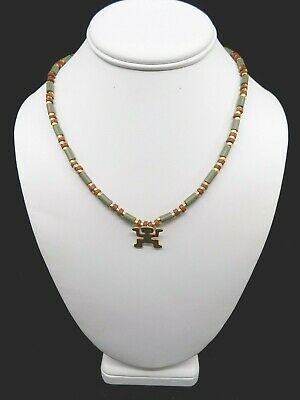 Pre-Columbian Style Gold Filled Bead and Stone Bead Warrior Pendant Necklace