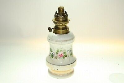 """French French Porce & Brass Oil Lamp Paraffin Lamp Height 10"""" x 4.5"""" No Chimney"""