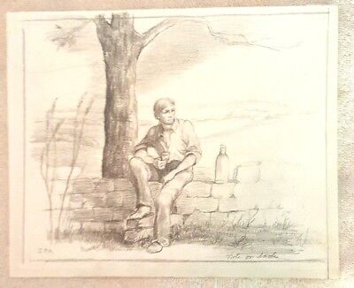 Absolut Vodka Statehood State Study Pencil Drawing Young Man On Rock Wall