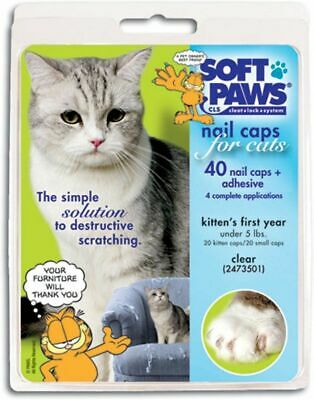 Soft Paws Feline Kit XSmall Nail Caps Stop Scratching Cat Claw 40 Count 2 Glue