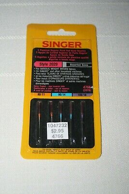 NIB Vintage SINGER Sewing Machine Needles 5 Style 2020 / Assorted Sizes Red Band