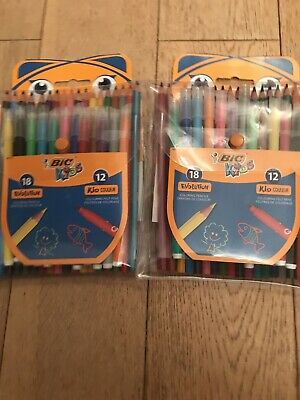BIC Kids Colouring Set- 18 Pencils/12 Felt Assorted - Pack of 30 X Two