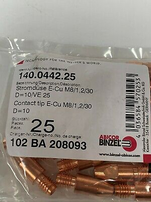 Abicor Binzel 140.0442 Contact Tip 045/'/' M8 Cu 262 Pkg = 25