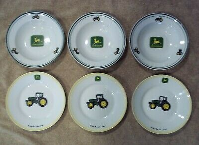 """JOHN DEERE Set of 6 pieces 9"""" Soup & Salad Tractor Bowls & Plates by Gibson"""