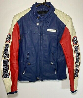 Harley Davidson Mens RAPID CITY Leather Jacket Small Red/White/Blue Capt America