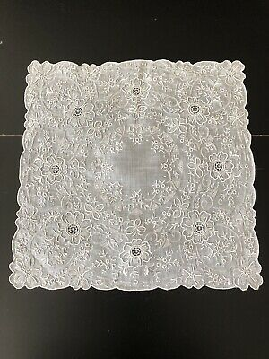 Antiquelace - Lovely Fine Swiss Hand Embroidered Handkerchief