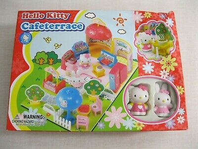 New! Hello Kitty Cafe Terrace Mini Playset Sanrio 2007 + 2 Figures - Cafeterrace