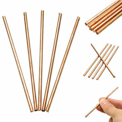 US 5 X 99.9% Solid Round Copper Bar 3mm Diameter 100mm Length Metal Bar Rod