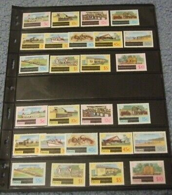 St Kitts #25-37 & Nevis #100-112 Mnh F-Vf 1980 Independence To ₤10 Complete Sets
