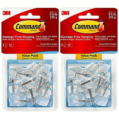 Lot of 2- Command Clear Wire Adhesive Hook (9 Pack) 17067CLR-9ES 18 Hooks Total