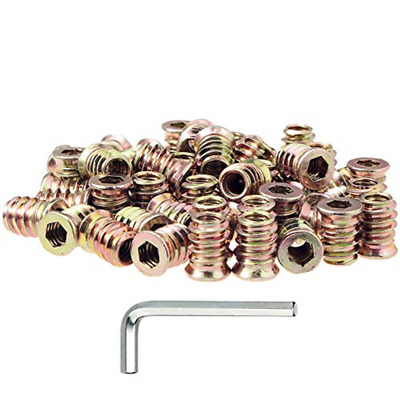 50pcs 1/4-20 Threaded Insert for Wood Furniture Insert Nuts Screw in Nuts USA