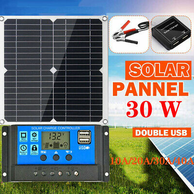 12V 30W Dual USB Flexible Solar Panel Battery Charger Kit Boat Camp+Controller