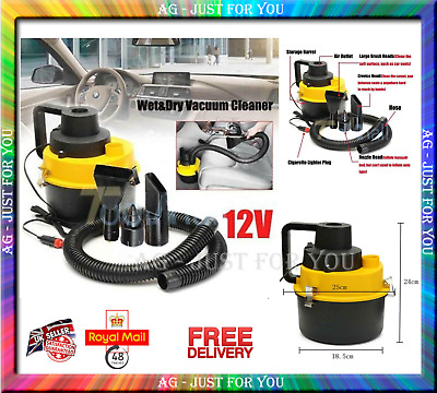 Portable Car Vacuum Cleaner Wet&Dry Cord Hoover 12v inflates mattresses and toys