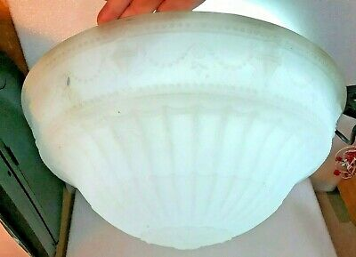 "ANTIQUE Ceiling FIXTURE Frosted Glass~ Shade 16.5 "" ~ EDWARDIAN DESIGN"