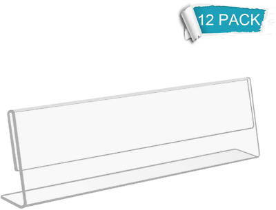 NIUBEE 12 Pack Acrylic 2x8 Name Plates for Desks,Horizontal Slant Back 2x8 Sign