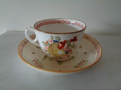 Antique Early 19th Century C1810 English New Hall Pottery Cup & Saucer