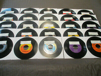 45 RPM Records Lot Of 25 Oldies W/Jukebox Title Strips & Sleeves
