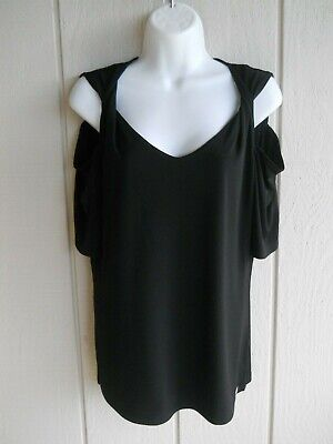 Womens S Anne Klein Cold Shoulder Short Sleeve Solid Black Stretchy Top Bust 38""