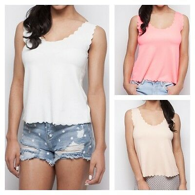 LADIES SCALLOP RAW EDGE JERSEY VEST WOMEN SLEEVELESS STRAPPY TANK MINI TOP 8-14