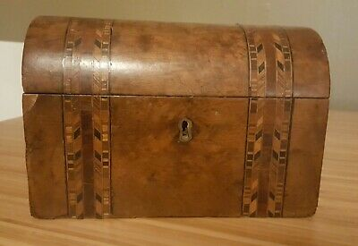 EARLY 19th CENTURY INLAID COFFIN DOME TOP  TEA CADDY