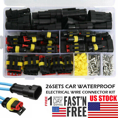 300PCS 1/2/3/4Pin Car Waterproof Male Female Electrical Connector Plug Wire Set