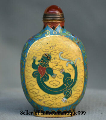 """3.2"""" Ancient Chinese Cloisonne Bronze Dynasty Pixiu Beast Snuff Bottle Box"""