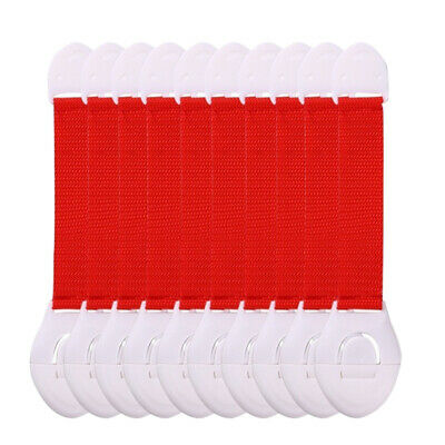 10pcs Baby Cabinet Lock Closet Children Protection Straps Latch Red