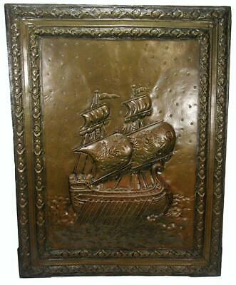 Antique Victorian Maritime Brass Galley Warship Repousse Wall Hanging 56 x 43 cm