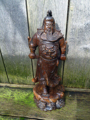 Very Large Chinese Hardwood Carved Warrior Figure - Qing Dynasty circa 1900