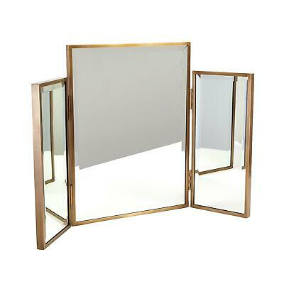 Luxe Glam Gold Frame Folding Vanity Mirror Table Top Triple Double Side Portable