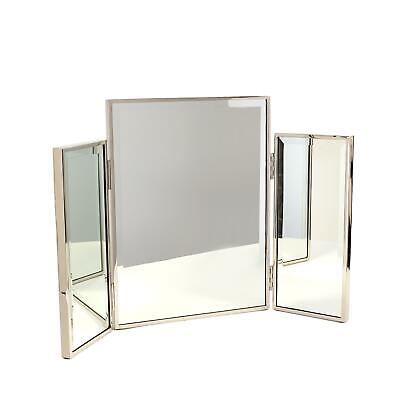 Glam Silver Frame Folding Vanity Mirror Table Top Triple Double Side Portable