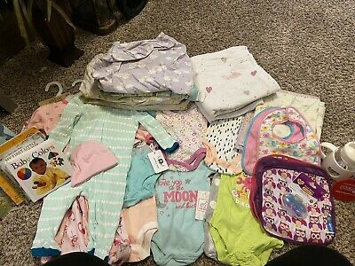 Lot Of Baby Girl Clothes/Blankets/Bibs/Books/Etc