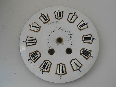 Antique French & Porcelain Dial & Tole Wall Clock Movement Enamel Numbers