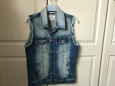 Girls F&F Denim Gilet Waistcoat Sleeveless Denim Jacket Age 13-14 Years