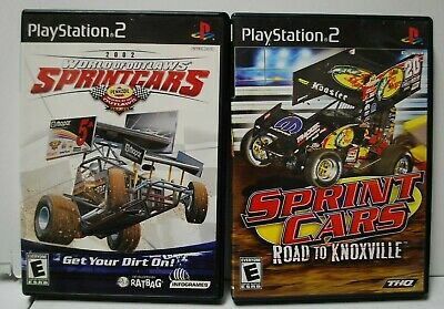 World of Outlaws Sprint Cars 2002 & Sprint Cars Road to Knoxville. PS2. Complete