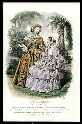 Original 1855 Antique Print Le Follet Victorian Fashion Plate French