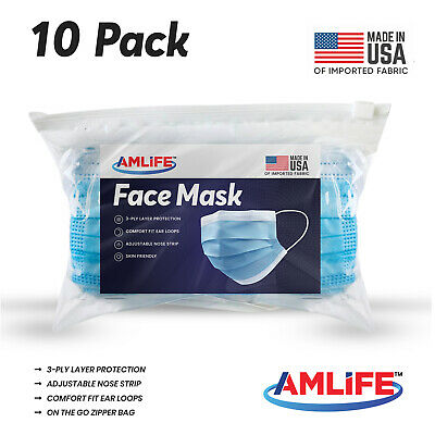 Made in USA 10 Pack Disposable Face Mask 3 Ply Dental Surgical Medical Masks