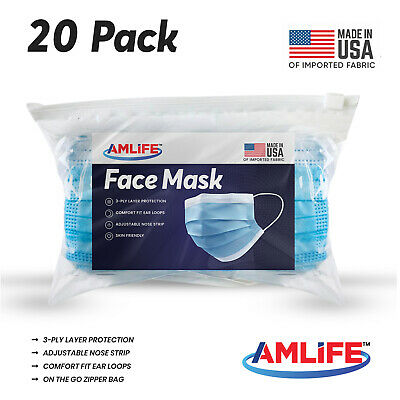 Made in USA 20 Pack Disposable Face Mask 3 Ply Dental Surgical Medical Masks