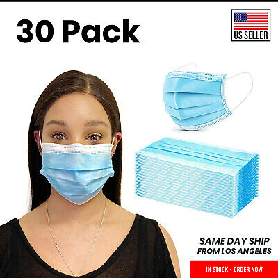 30 Pack Disposable Face Mask Surgical Dental Medical Blue 3-Ply Mouth Nose Cover