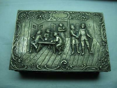 Beautiful Antique 800 Silver Box With Dwelling Scene